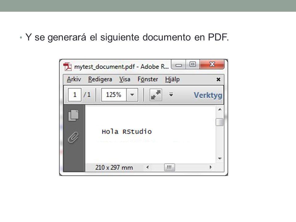 Creación de un documento Knitr 1. Cambiamos el entorno Sweave a knitr, en Tools -> Options