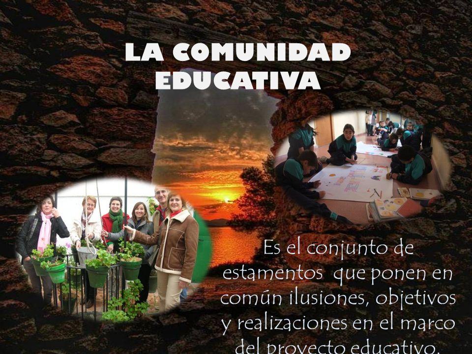 LA COMUNIDAD EDUCATIVA Es Es el conjunto de estamentos que ponen en común ilusiones, objetivos y realizaciones en el marco del proyecto educativo.