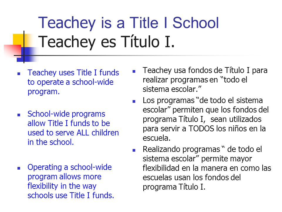 Teachey is a Title I School Teachey es Título I.
