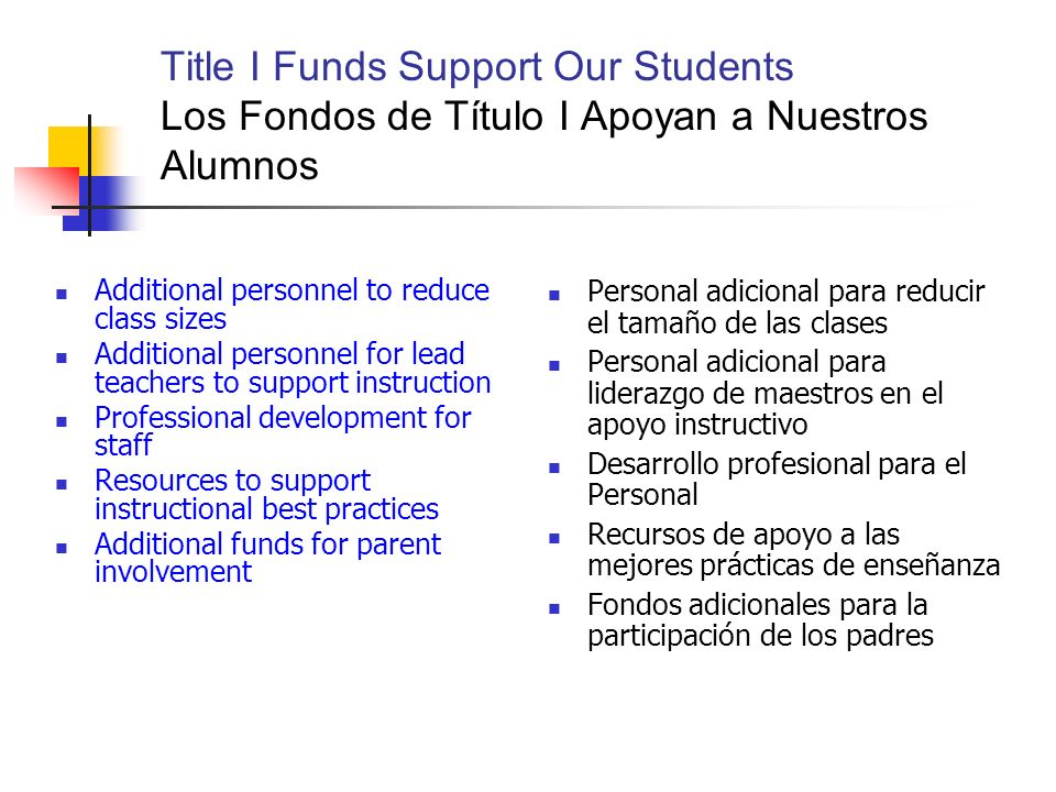Title I Funds Support Our Students Los Fondos de Título I Apoyan a Nuestros Alumnos Additional personnel to reduce class sizes Additional personnel for lead teachers to support instruction Professional development for staff Resources to support instructional best practices Additional funds for parent involvement Personal adicional para reducir el tamaño de las clases Personal adicional para liderazgo de maestros en el apoyo instructivo Desarrollo profesional para el Personal Recursos de apoyo a las mejores prácticas de enseñanza Fondos adicionales para la participación de los padres