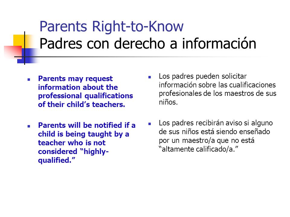Parents Right-to-Know Padres con derecho a información Parents may request information about the professional qualifications of their childs teachers.