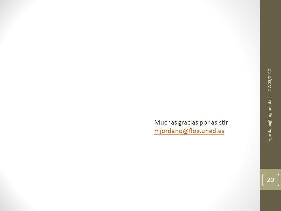 Muchas gracias por asistir mjordano@flog.uned.es 27/03/2012 mjordano@flog.uned.es 20