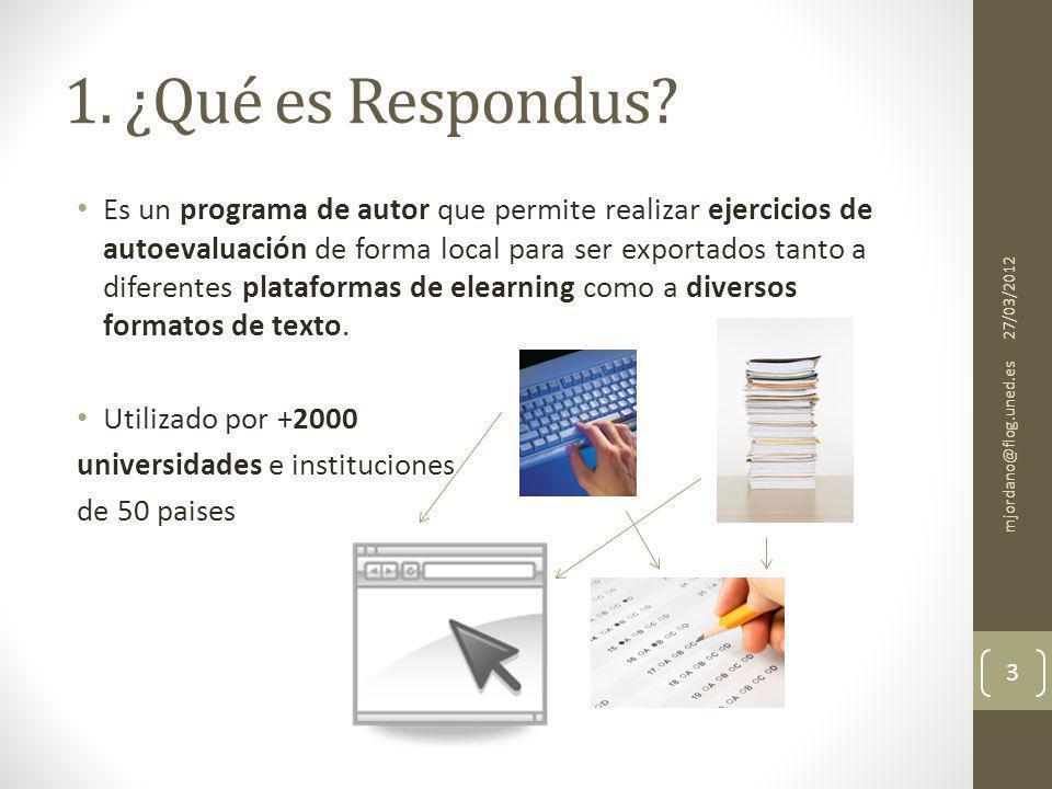 7. Impresión de cuestionarios /guardar como texto 27/03/2012 mjordano@flog.uned.es 14