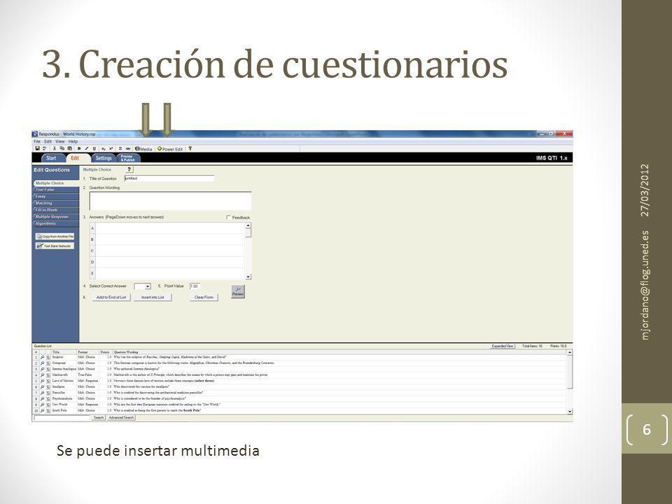 4. Importar preguntas de texto 27/03/2012 mjordano@flog.uned.es 7