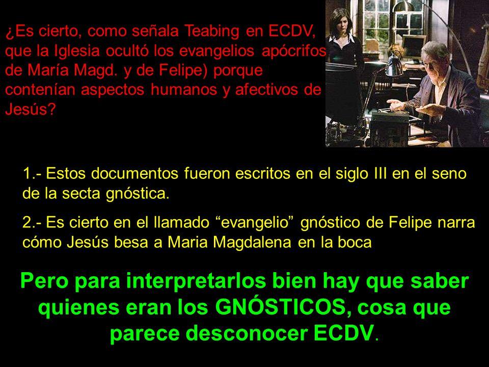 ¿Es cierto, como señala Teabing en ECDV, que la Iglesia ocultó los evangelios apócrifos de María Magd. y de Felipe) porque contenían aspectos humanos