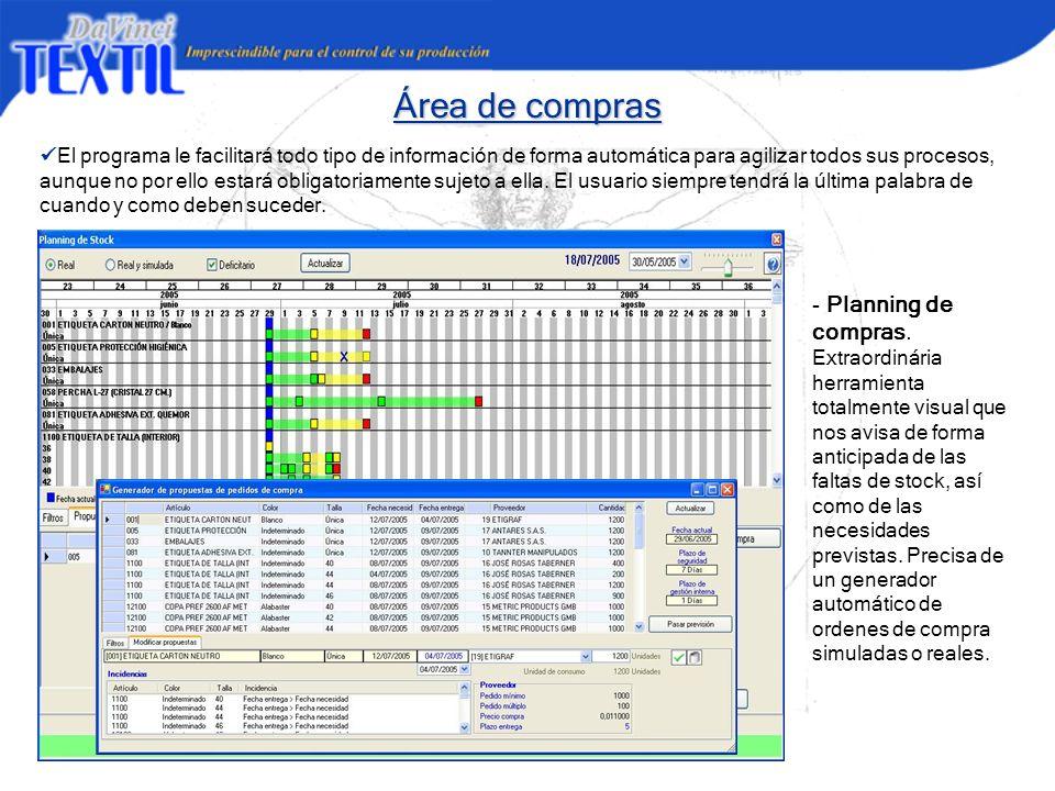 Área de compras El programa le facilitará todo tipo de información de forma automática para agilizar todos sus procesos, aunque no por ello estará obl