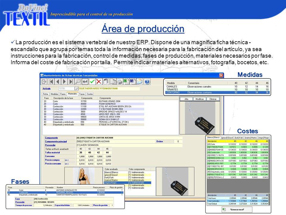 Área de producción La producción es el sistema vertebral de nuestro ERP. Dispone de una magnífica ficha técnica – escandallo que agrupa por temas toda