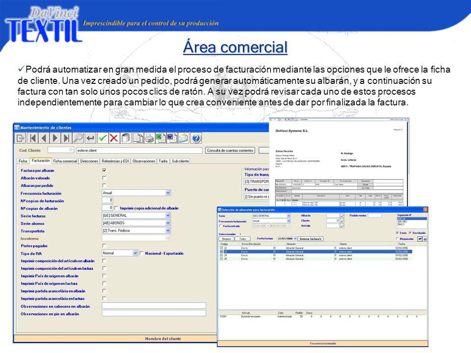 Área comercial Podrá automatizar en gran medida el proceso de facturación mediante las opciones que le ofrece la ficha de cliente. Una vez creado un p