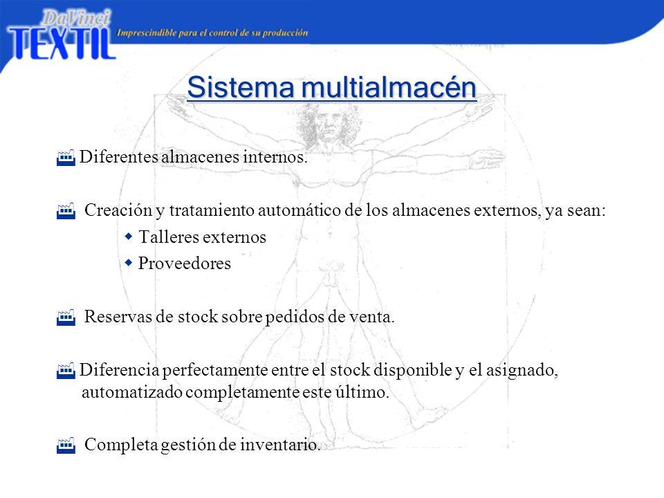 Sistema multialmacén Diferentes almacenes internos. Creación y tratamiento automático de los almacenes externos, ya sean: Talleres externos Proveedore