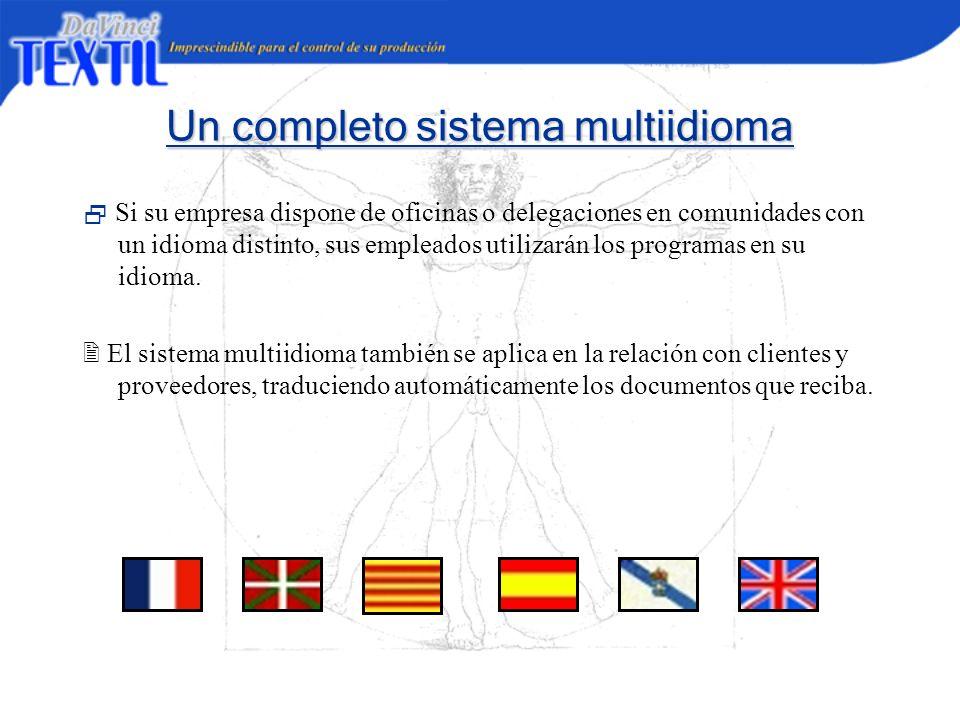 Un completo sistema multiidioma Si su empresa dispone de oficinas o delegaciones en comunidades con un idioma distinto, sus empleados utilizarán los p