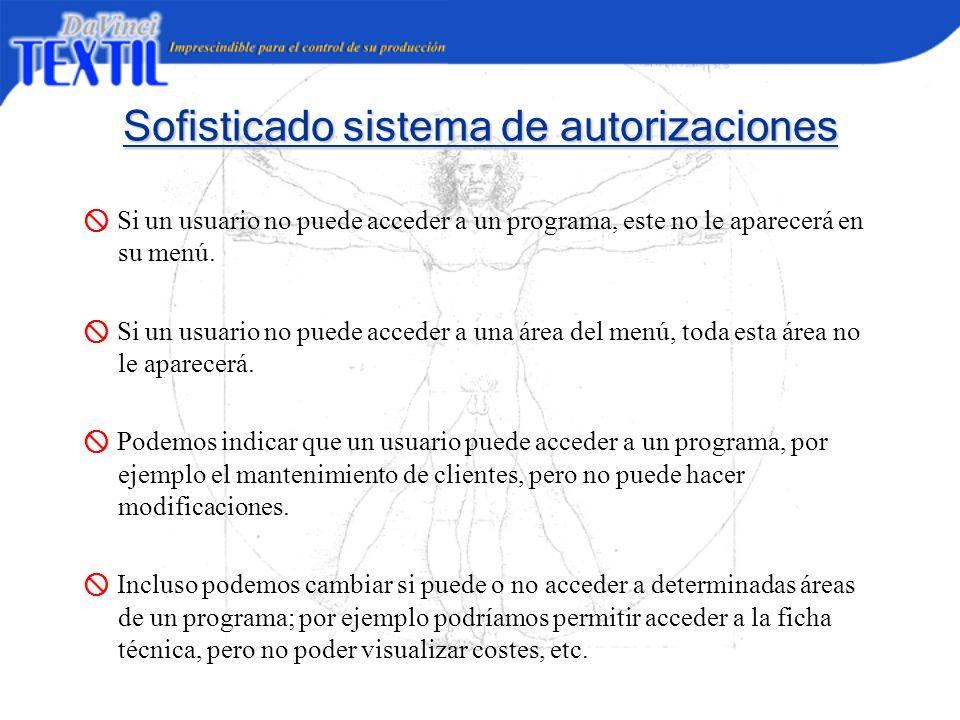 Sofisticado sistema de autorizaciones Si un usuario no puede acceder a un programa, este no le aparecerá en su menú. Si un usuario no puede acceder a