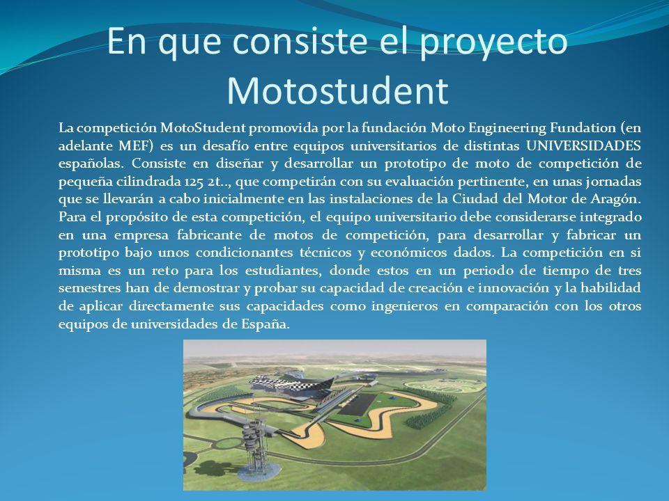En que consiste el proyecto Motostudent La competición MotoStudent promovida por la fundación Moto Engineering Fundation (en adelante MEF) es un desaf