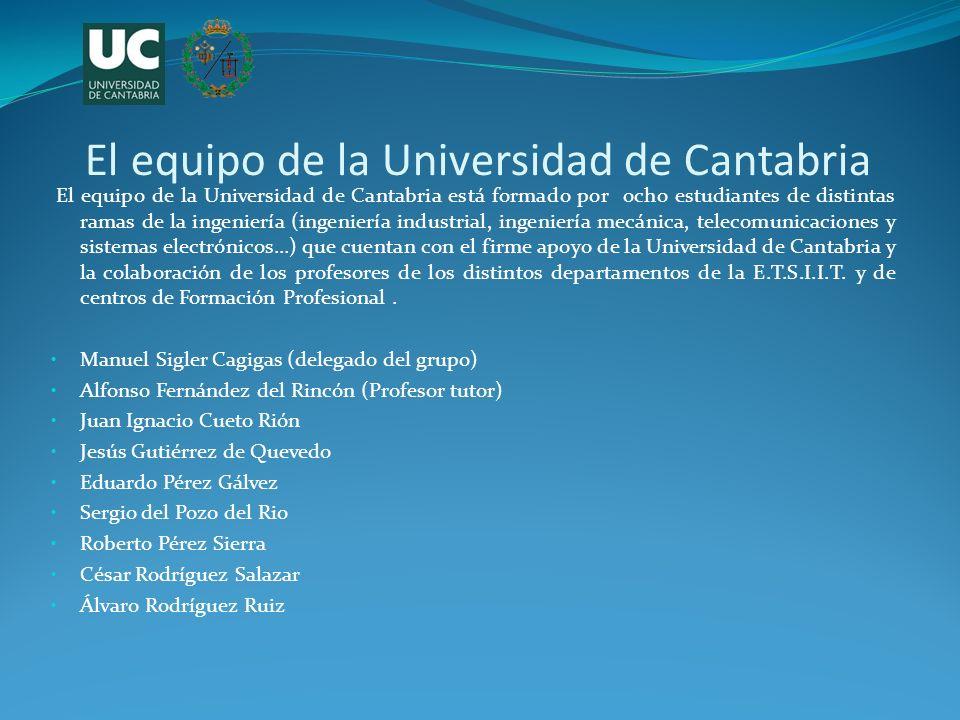 El equipo de la Universidad de Cantabria El equipo de la Universidad de Cantabria está formado por ocho estudiantes de distintas ramas de la ingenierí