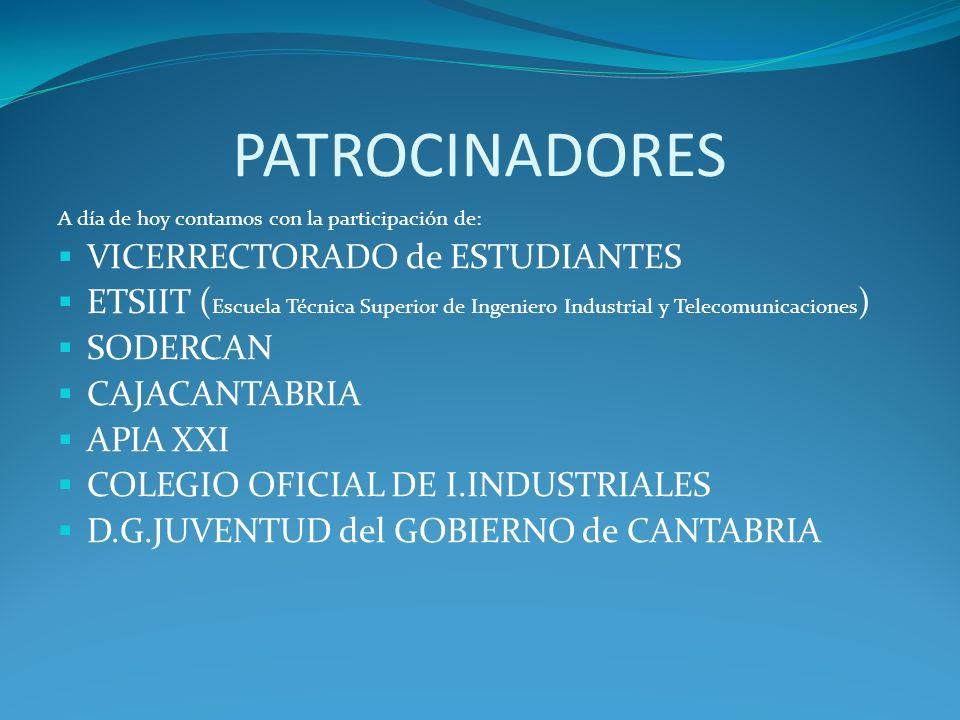 PATROCINADORES A día de hoy contamos con la participación de: VICERRECTORADO de ESTUDIANTES ETSIIT ( Escuela Técnica Superior de Ingeniero Industrial