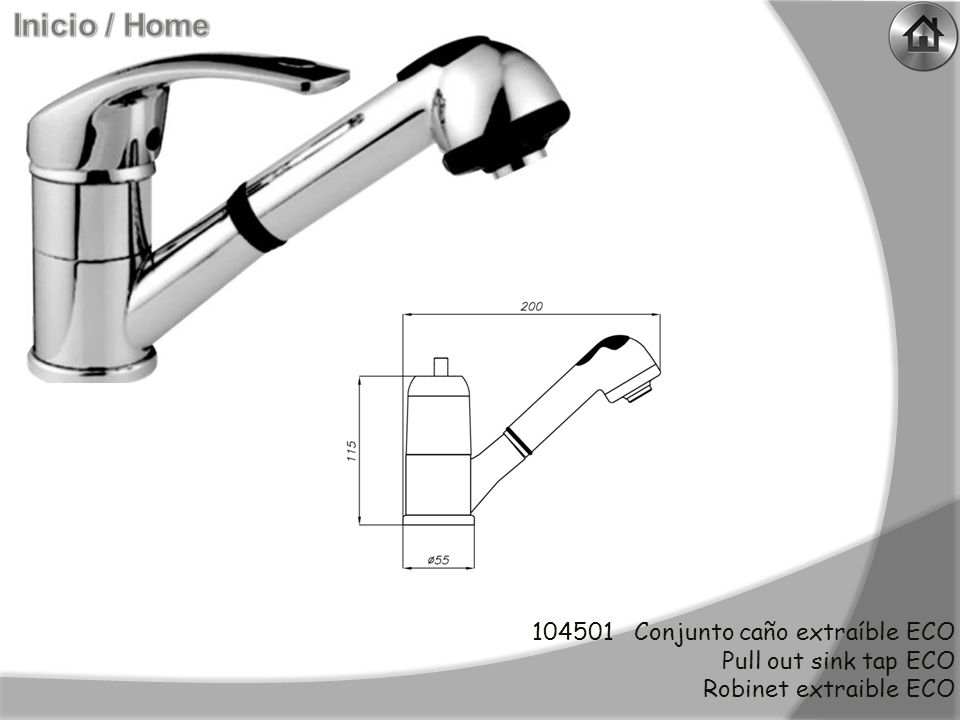 103184 Conjunto giratorio lateral recto (apertura lateral) Hig right spout (side openning) Tube haut droit (overture laterale)