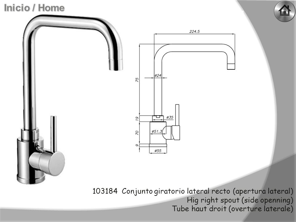 103188 Conjunto giratorio lateral curvo (apertura lateral) Hig curved spout (side openning) Tube haut courbé (overture laterale)