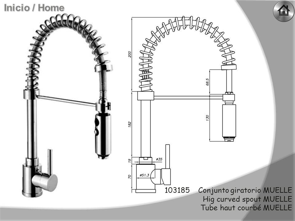 140008 Conjuto giratorio recto QUATRO (apertura lateral) Hig right spout QUATRO (side openning) Tube haut droit QUATRO (overture laterale)
