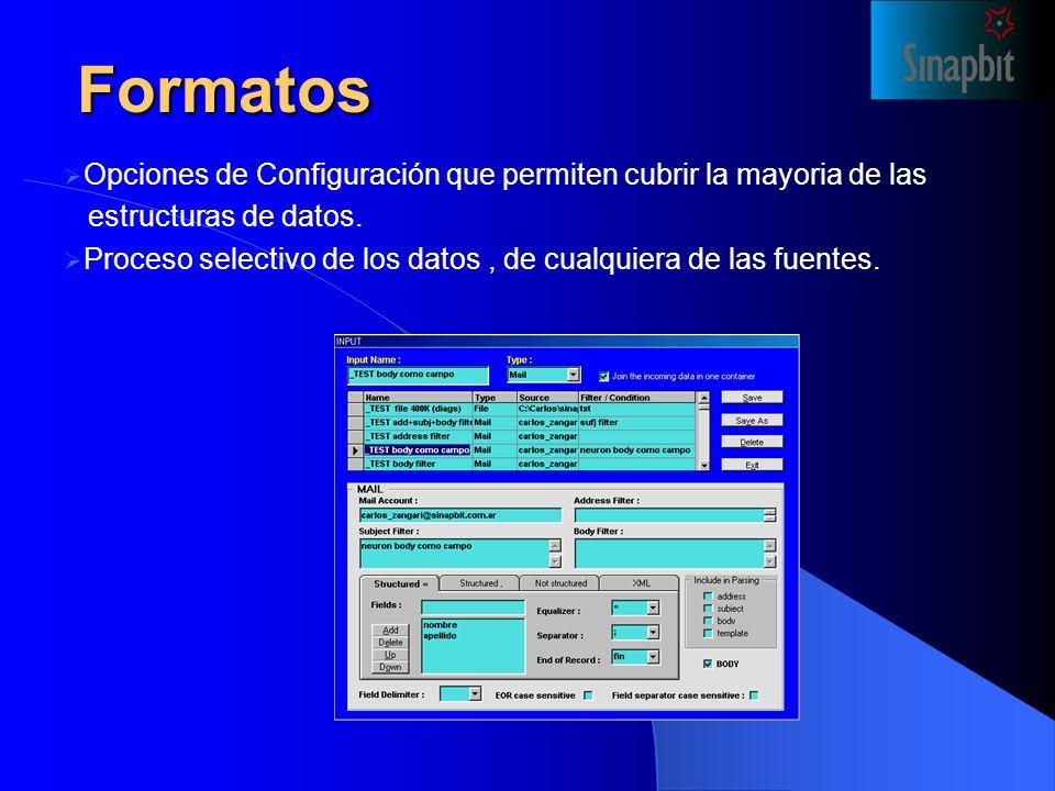 Formatos Opciones de Configuración que permiten cubrir la mayoria de las estructuras de datos.