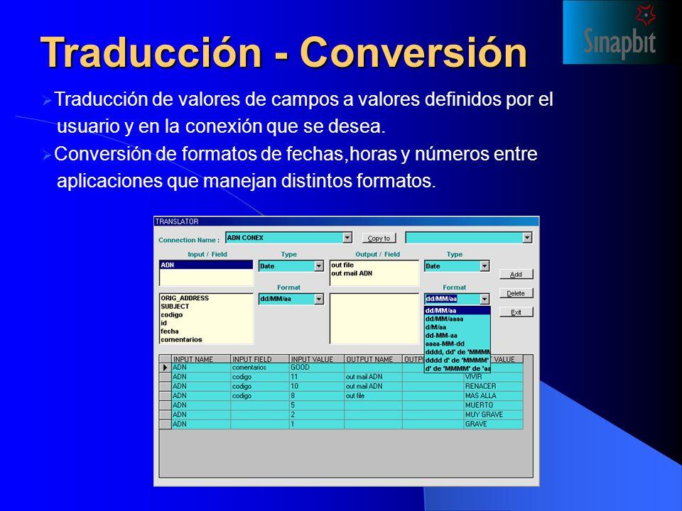 Traducción - Conversión Traducción de valores de campos a valores definidos por el usuario y en la conexión que se desea.