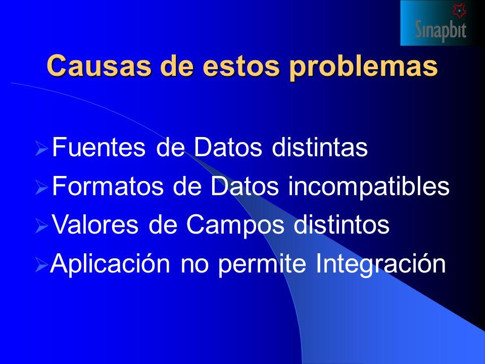 Causas de estos problemas Fuentes de Datos distintas Formatos de Datos incompatibles Valores de Campos distintos Aplicación no permite Integración