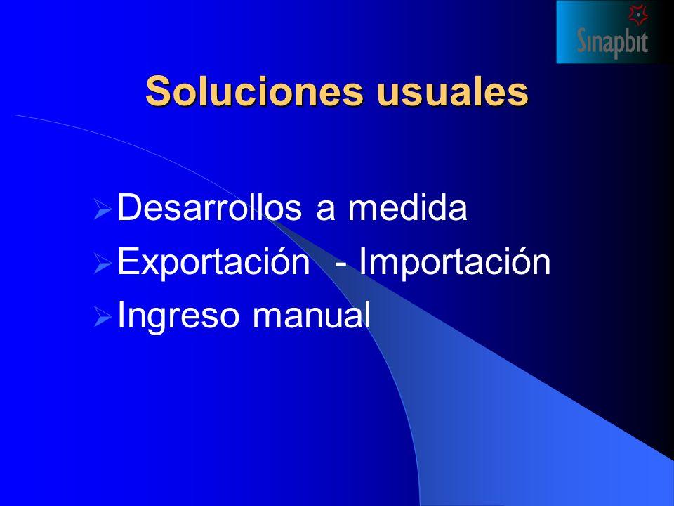 Soluciones usuales Desarrollos a medida Exportación - Importación Ingreso manual