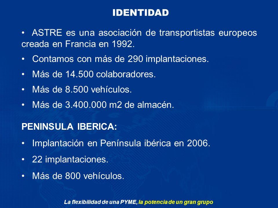 La flexibilidad de una PYME, la potencia de un gran grupo Más de 14.500 colaboradores. IDENTIDAD ASTRE es una asociación de transportistas europeos cr