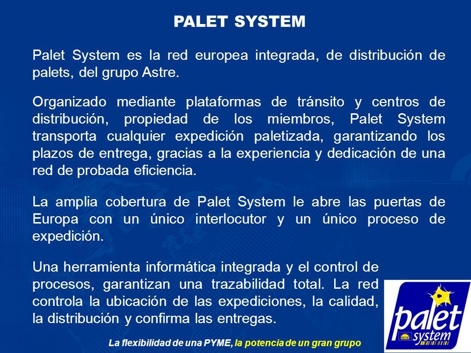 La flexibilidad de una PYME, la potencia de un gran grupo PALET SYSTEM Palet System es la red europea integrada, de distribución de palets, del grupo