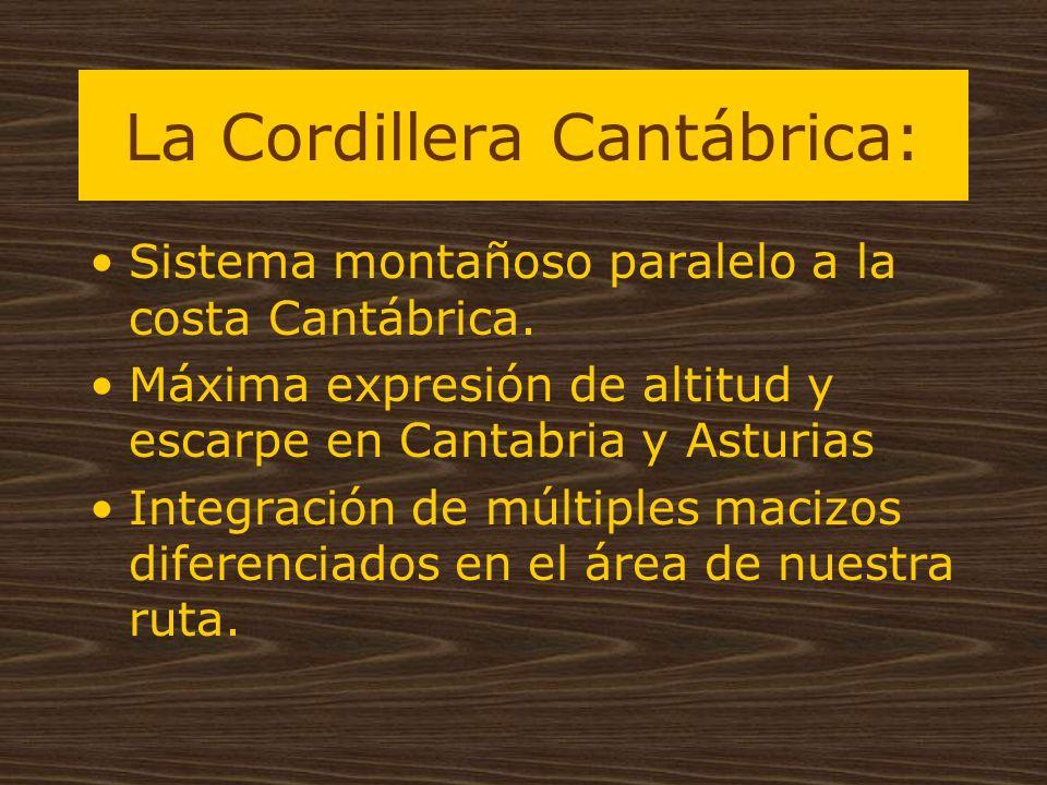 La Cordillera Cantábrica: Sistema montañoso paralelo a la costa Cantábrica. Máxima expresión de altitud y escarpe en Cantabria y Asturias Integración