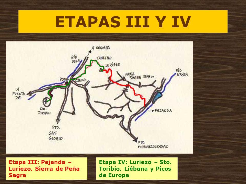 ETAPAS III Y IV Etapa III: Pejanda – Luriezo. Sierra de Peña Sagra Etapa IV: Luriezo – Sto. Toribio. Liébana y Picos de Europa