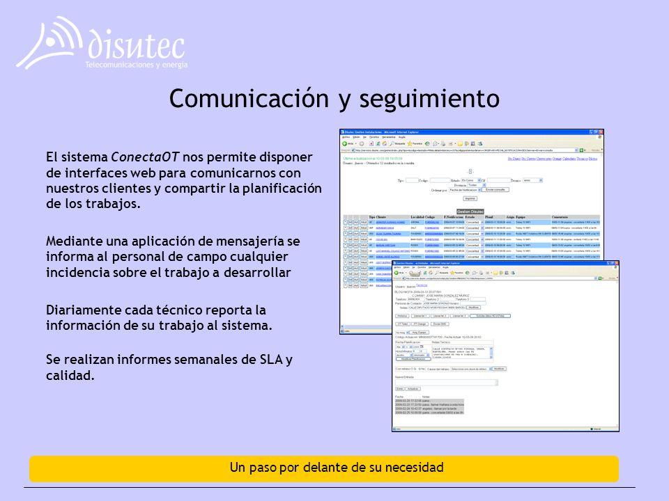 Un paso por delante de su necesidad Comunicación y seguimiento El sistema ConectaOT nos permite disponer de interfaces web para comunicarnos con nuestros clientes y compartir la planificación de los trabajos.