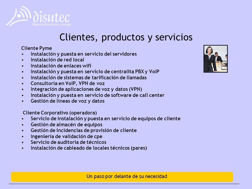 Un paso por delante de su necesidad Clientes, productos y servicios Cliente Pyme Instalación y puesta en servicio del servidores Instalación de red local Instalación de enlaces wifi Instalación y puesta en servicio de centralita PBX y VoIP Instalación de sistemas de tarificación de llamadas Consultoría en VoIP, VPN de voz Integración de aplicaciones de voz y datos (VPN) Instalación y puesta en servicio de software de call center Gestión de líneas de voz y datos Cliente Corporativo (operadora) Servicio de instalación y puesta en servicio de equipos de cliente Gestión de almacén de equipos Gestión de incidencias de provisión de cliente Ingeniería de validación de cpe Servicio de auditoría de técnicos Instalación de cableado de locales técnicos (pares)