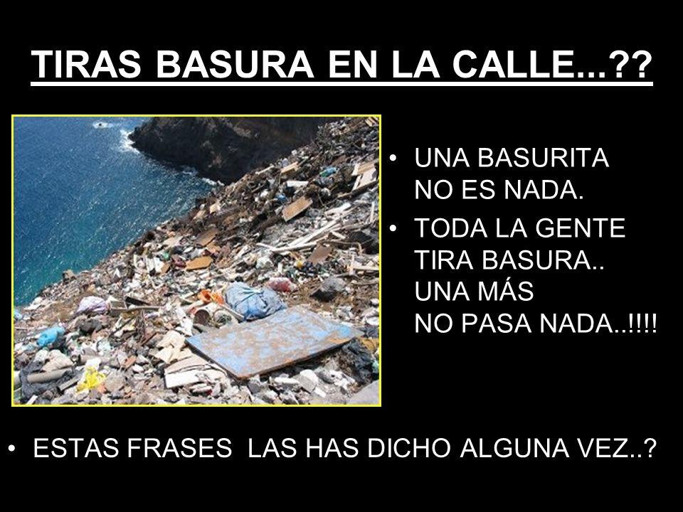TIRAS BASURA EN LA CALLE...?. ESTAS FRASES LAS HAS DICHO ALGUNA VEZ...