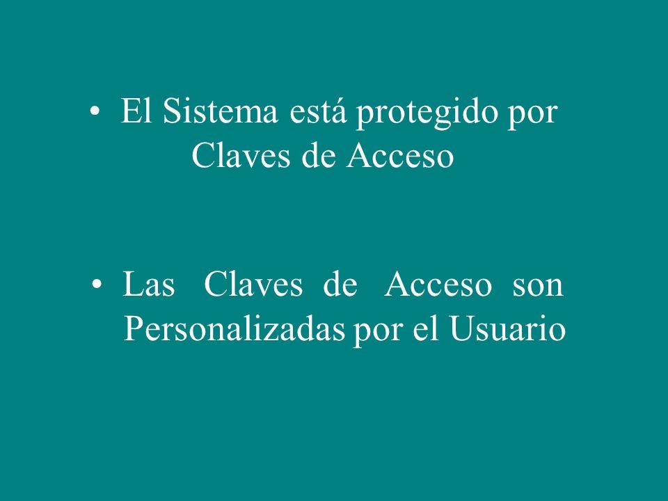 El Sistema está protegido por Claves de Acceso Las Claves de Acceso son Personalizadas por el Usuario