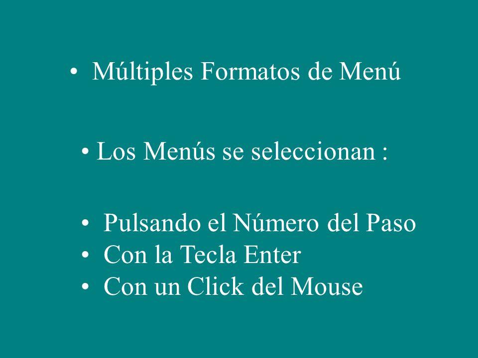 Múltiples Formatos de Menú Los Menús se seleccionan : Pulsando el Número del Paso Con la Tecla Enter Con un Click del Mouse