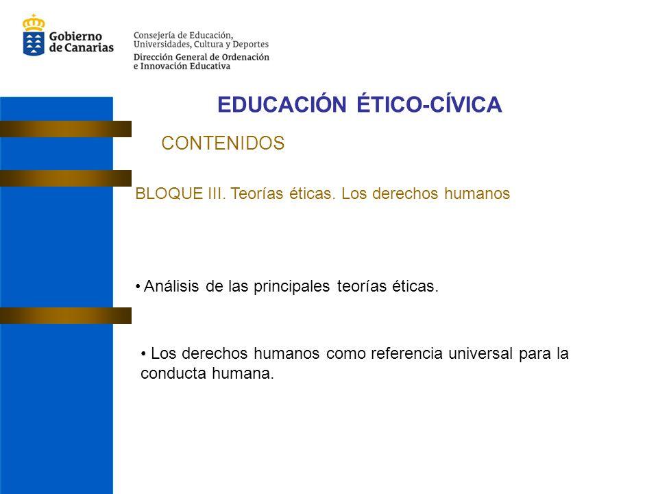 EDUCACIÓN ÉTICO-CÍVICA CONTENIDOS BLOQUE III. Teorías éticas. Los derechos humanos Análisis de las principales teorías éticas. Los derechos humanos co