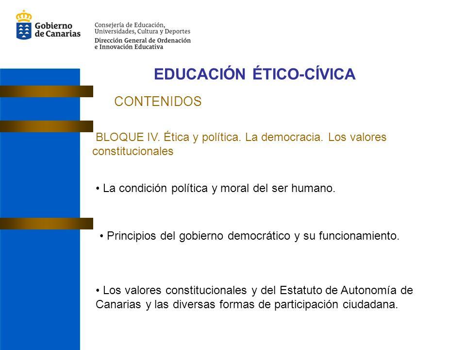 EDUCACIÓN ÉTICO-CÍVICA CONTENIDOS BLOQUE IV. Ética y política. La democracia. Los valores constitucionales La condición política y moral del ser human