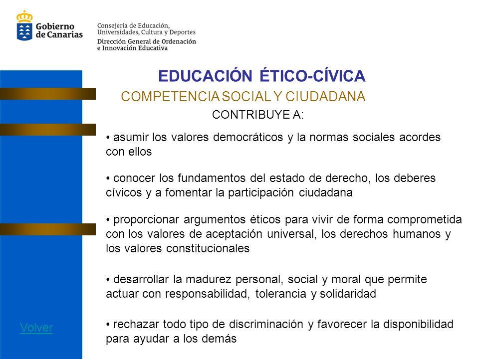 EDUCACIÓN ÉTICO-CÍVICA COMPETENCIA SOCIAL Y CIUDADANA CONTRIBUYE A: asumir los valores democráticos y la normas sociales acordes con ellos conocer los