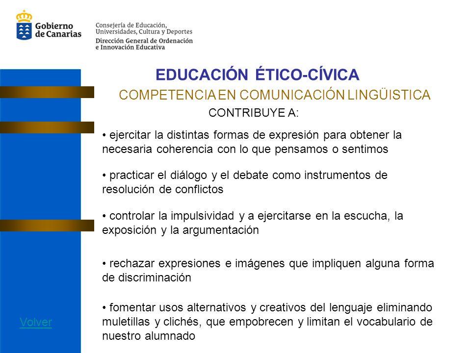EDUCACIÓN ÉTICO-CÍVICA COMPETENCIA EN COMUNICACIÓN LINGÜISTICA CONTRIBUYE A: ejercitar la distintas formas de expresión para obtener la necesaria cohe