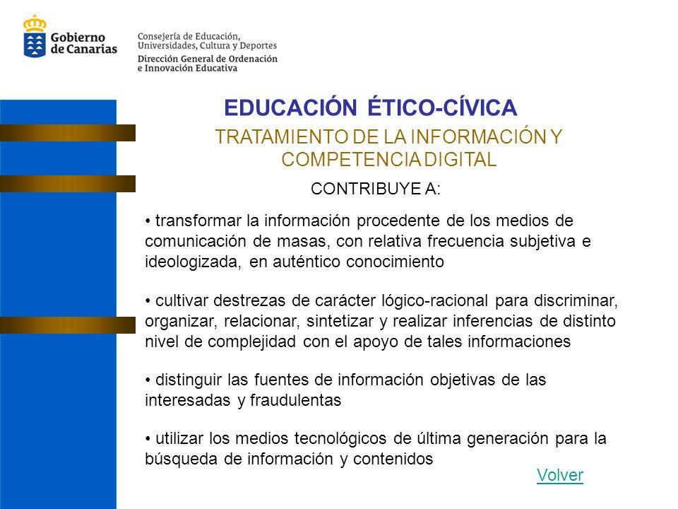 EDUCACIÓN ÉTICO-CÍVICA TRATAMIENTO DE LA INFORMACIÓN Y COMPETENCIA DIGITAL CONTRIBUYE A: transformar la información procedente de los medios de comuni