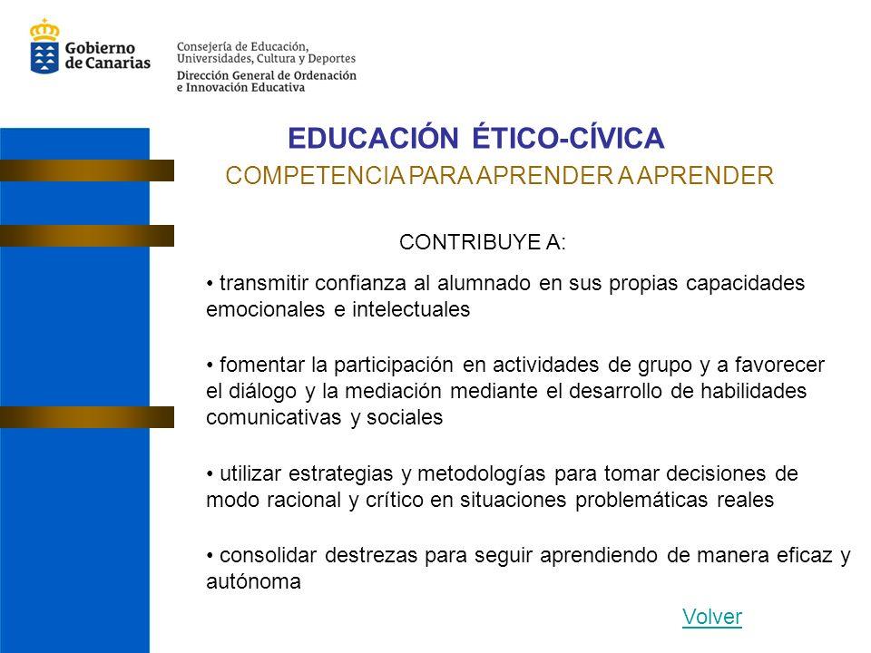 EDUCACIÓN ÉTICO-CÍVICA COMPETENCIA PARA APRENDER A APRENDER CONTRIBUYE A: transmitir confianza al alumnado en sus propias capacidades emocionales e in