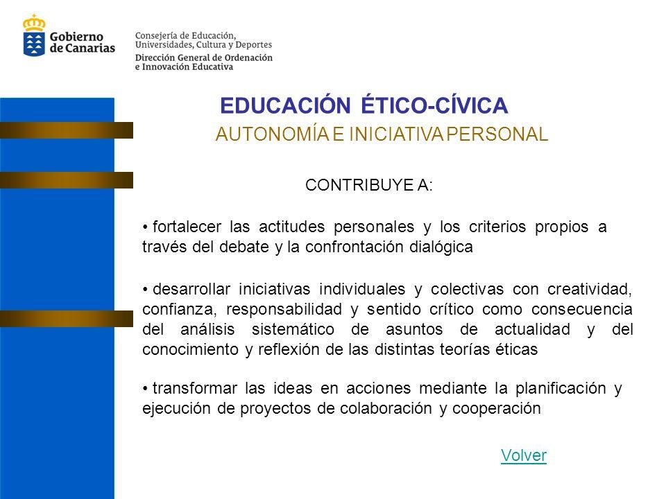 EDUCACIÓN ÉTICO-CÍVICA AUTONOMÍA E INICIATIVA PERSONAL CONTRIBUYE A: fortalecer las actitudes personales y los criterios propios a través del debate y