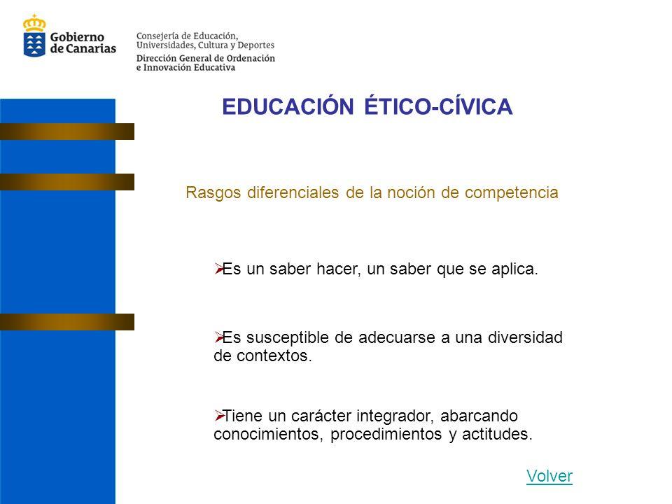 EDUCACIÓN ÉTICO-CÍVICA Rasgos diferenciales de la noción de competencia Es un saber hacer, un saber que se aplica. Es susceptible de adecuarse a una d