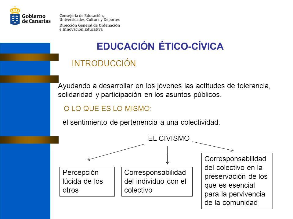 EDUCACIÓN ÉTICO-CÍVICA INTRODUCCIÓN Ayudando a desarrollar en los jóvenes las actitudes de tolerancia, solidaridad y participación en los asuntos públicos.