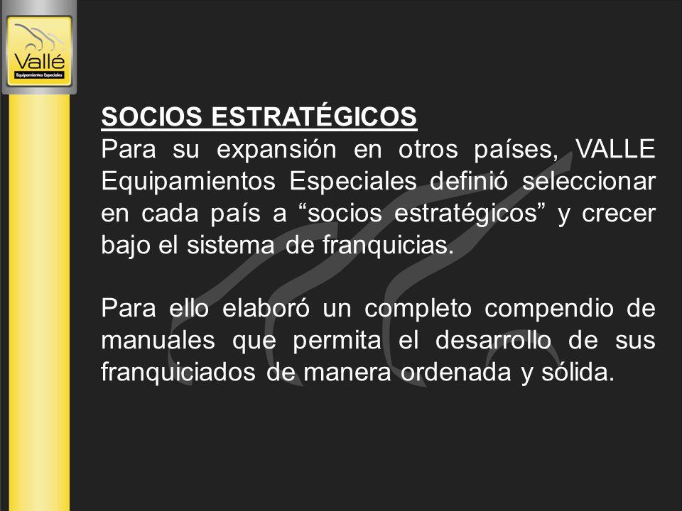 SOCIOS ESTRATÉGICOS Para su expansión en otros países, VALLE Equipamientos Especiales definió seleccionar en cada país a socios estratégicos y crecer