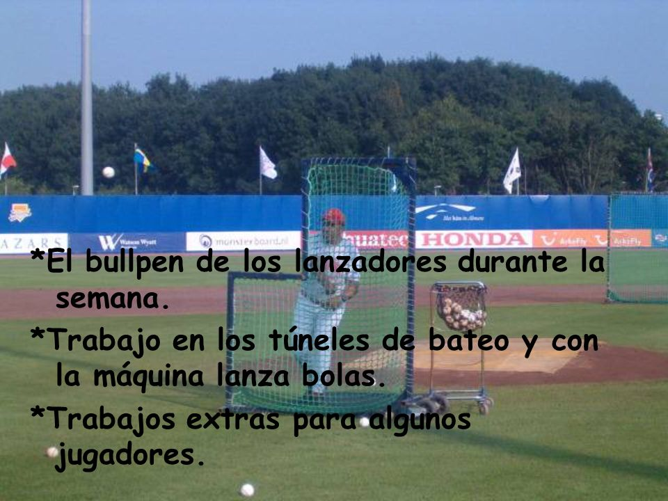 *El bullpen de los lanzadores durante la semana.