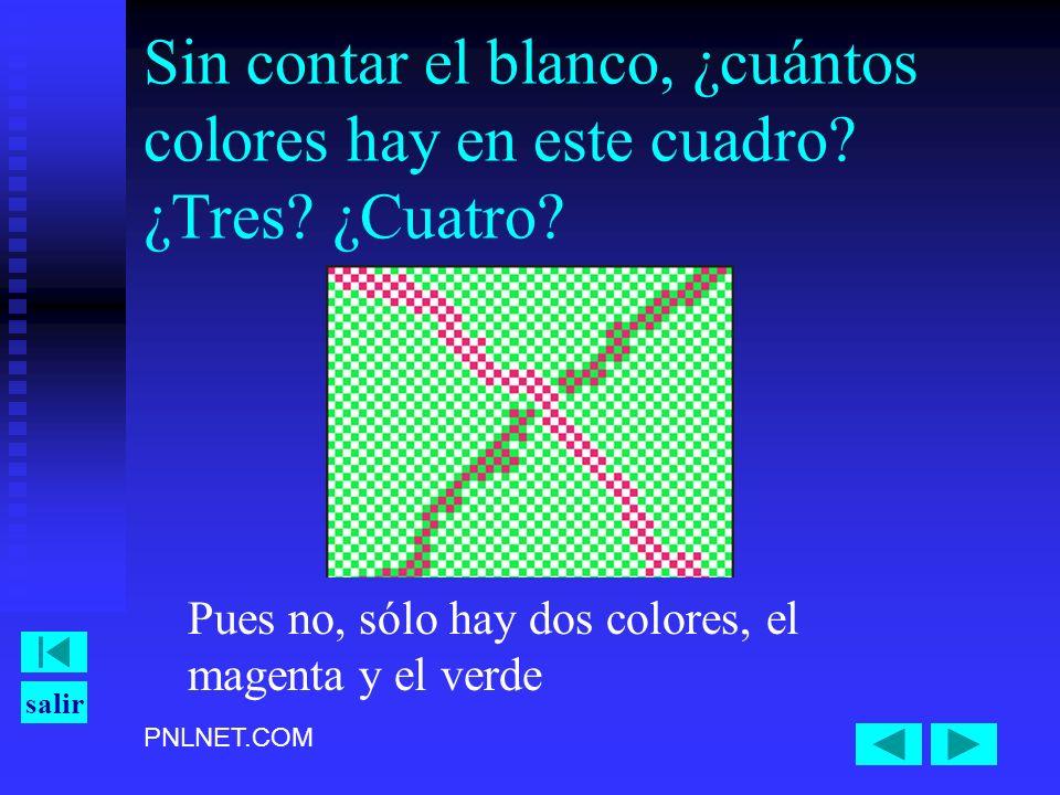 PNLNET.COM salir Sin contar el blanco, ¿cuántos colores hay en este cuadro? ¿Tres? ¿Cuatro? Pues no, sólo hay dos colores, el magenta y el verde