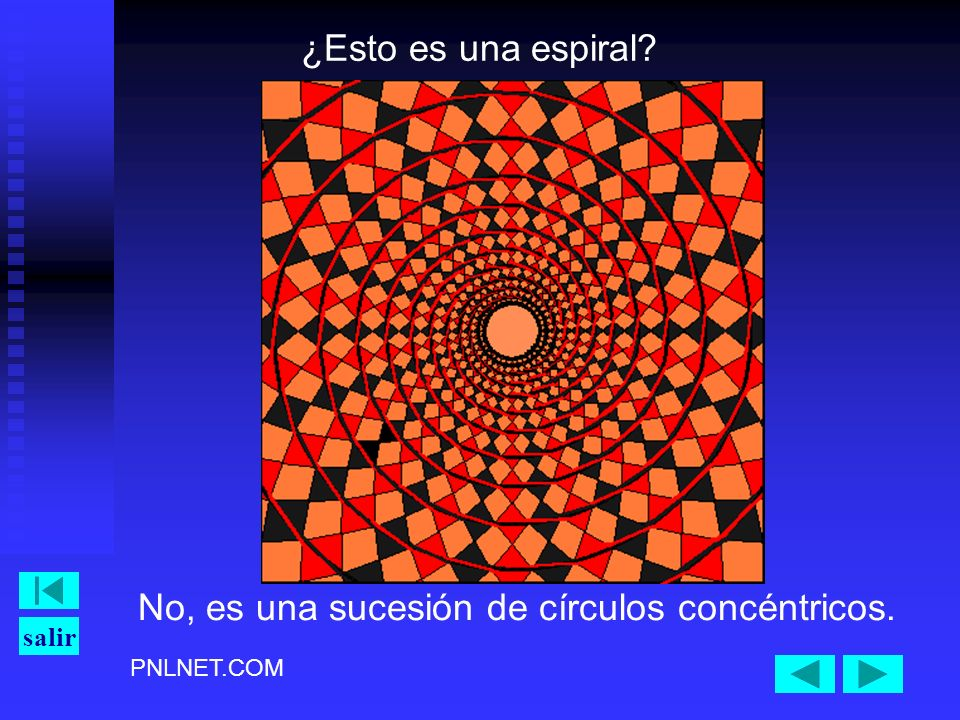 PNLNET.COM salir ¿Esto es una espiral? No, es una sucesión de círculos concéntricos.