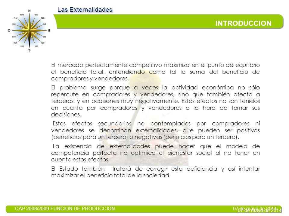 CAP 2008/2009 FUNCION DE PRODUCCION 07 de mayo de 2014 LAS EXTERNALIDADES Introducción Tarea Proceso Evaluación Conclusión WEBQUEST Realizado por: Ana