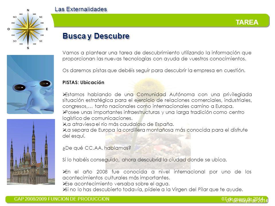 CAP 2008/2009 FUNCION DE PRODUCCION 07 de mayo de 2014 Objetivos: Las Externalidades INTRODUCCION El problema de la lucha contra la contaminación nos