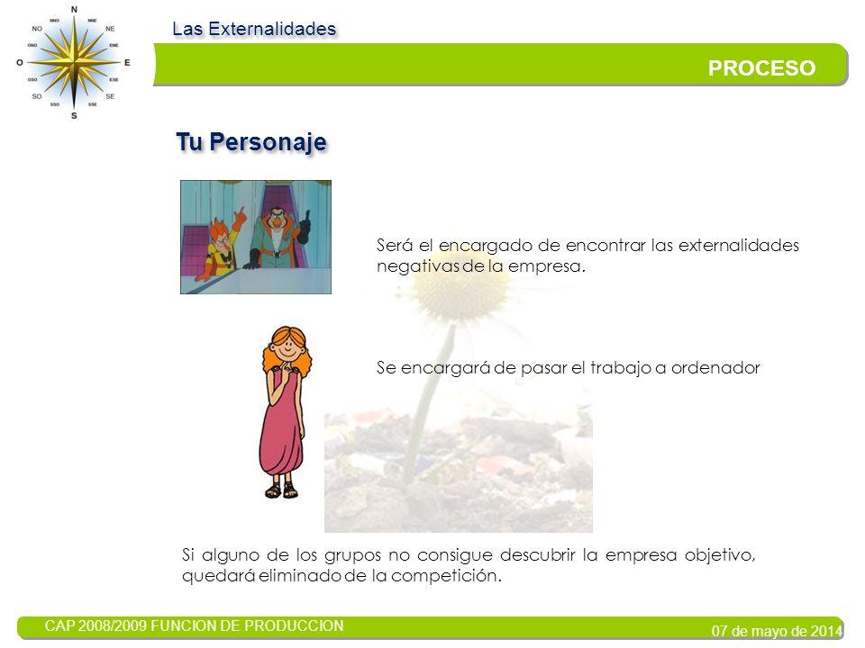 CAP 2008/2009 FUNCION DE PRODUCCION 07 de mayo de 2014 Las Externalidades PROCESO Formaremos grupos heterogéneos, cada componente del mismo se asignará una función.